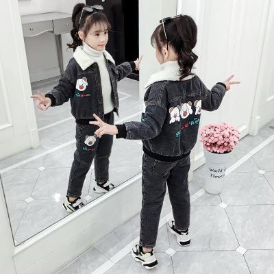 Trang phục Jean trẻ em Bộ đồ denim bé gái 2019 mới thu đông và quai dày dày trẻ em hai bộ đồ mùa đôn
