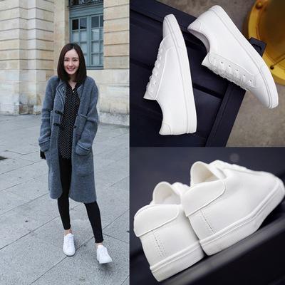 giày bệt nữ 2019 mới mùa xuân ren nhỏ giày trắng nữ bằng phẳng giày vải da nữ giày trắng giày nữ bìn