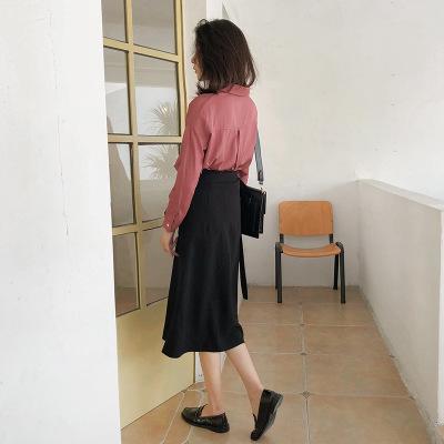 váy Phiên bản tiếng Hàn của váy một mảnh eo cao nữ mùa thu rắn màu dài một đoạn quấn váy DX054
