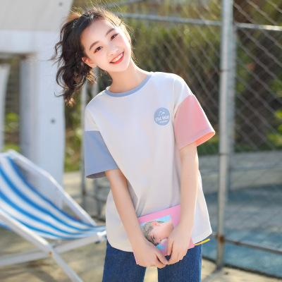 áo thun Đồng bằng nữ sinh trung học phổ thông gió in cổ tròn tay áo ngắn 1009209