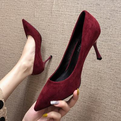 Giày GuangDong 2019 mới đơn giản giày cao gót da lộn cao gót nhọn mũi nông cao gót đi lại giày đơn