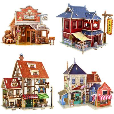 Bộ đồ chơi rút gỗ Nếu nhà nước 3d câu đố ba chiều bằng gỗ DIY nhà câu đố Giáo dục đồ chơi giáo dục t