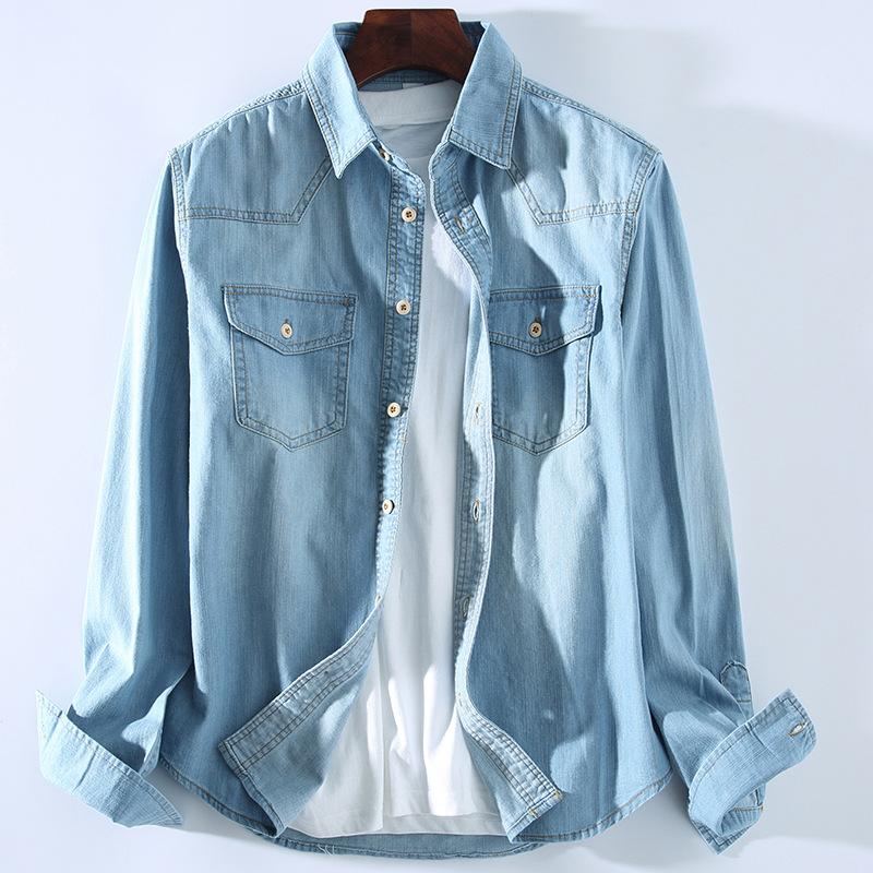HUSHI Áo sơ mi Khóa gỗ giặt nhẹ màu xanh denim nam áo cotton nam sơ mi giản dị áo sơ mi xử lý áo sơ
