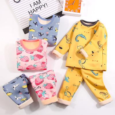 Thị trường trang phục trẻ em Bộ đồ lót trẻ em cộng với nhung dày phim hoạt hình em bé quần áo ấm mùa