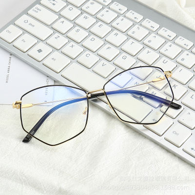 Kính hàn  Kính chống Blu-ray mới kính kim loại retro khung thời trang kính không đều có thể được tra