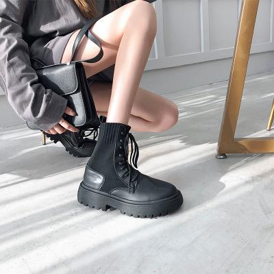 giày bánh mì / giày Platform Giày cao cổ nữ cao cổ 2019 mùa thu mới của Anh Giày da dày đế dày Marti
