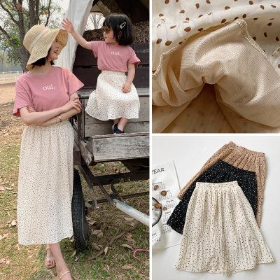 Áo thun gia đình Nhỏ) mèo nhỏ lười biếng quần áo trẻ em mùa hè váy dài nửa sóng phiên bản Hàn Quốc c