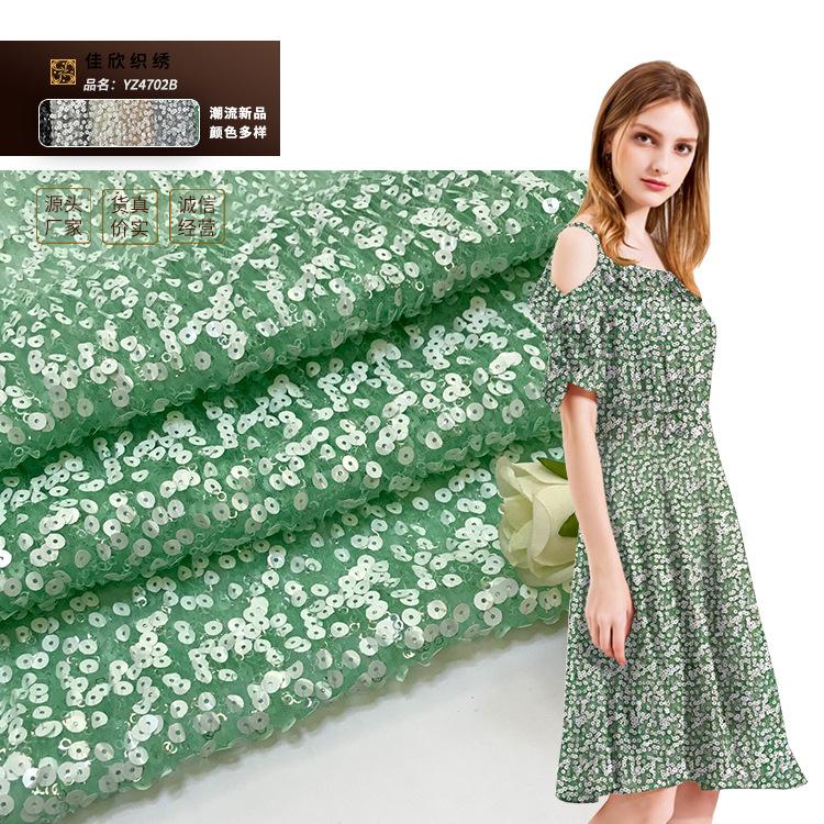 JIAXIN Vải thêu Mùa xuân và mùa hè khí chất của phụ nữ thời trang Vải gấp sequin Vải thêu sequin Vải