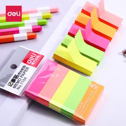 Deli Giấy note Ghi chú dán màu hiệu quả, ghi chú dán, dán, dán, đồ dùng văn phòng, 5 màu
