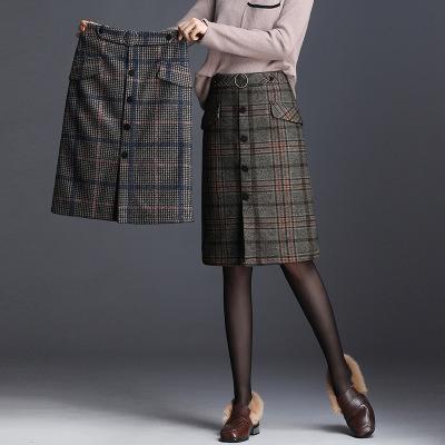 váy Mùa thu đông len kẻ sọc túi hông váy nữ 2019 mới Hàn Quốc thời trang hoang dã giản dị váy nữ