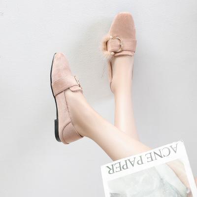 Giày da một lớp XM-6 nhà sản xuất một đôi giày mang giày len nữ 2019 mùa thu và mùa đông giày đế bệt