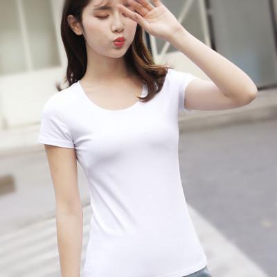 áo thun Áo thun trắng đáy quần Slim 95 cotton nữ mùa hè tay ngắn cổ tròn mỏng Hàn Quốc áo sơ mi nửa