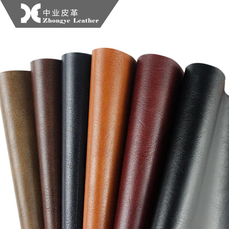 Zhongye Da bò Nhà máy Zhongye bán hàng trực tiếp Giày bảo vệ môi trường Chất liệu hai màu hạt mịn PU