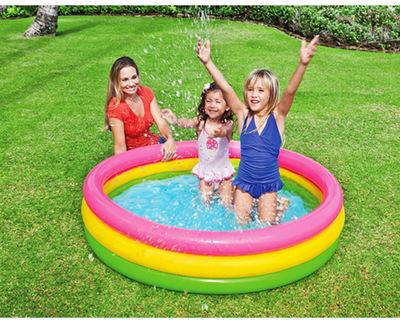 INTEX bể bơi trẻ sơ sinh INTEX57412 huỳnh quang ba vòng bơm hơi bể bơi trẻ em bể bơi bóng biển