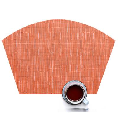 Dinnerhome Đệm chống trơn Dấu vị trí bằng nhựa PVC hình quạt của Teslin West placemats tùy chỉnh Các