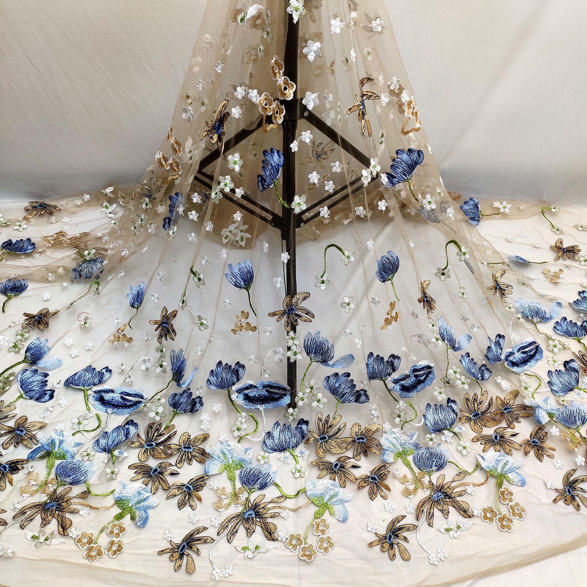 HUIZHIXIU Vải thêu cổ tích, vải thêu lưới, vải ren nhiều màu gió cổ, phụ kiện DIY
