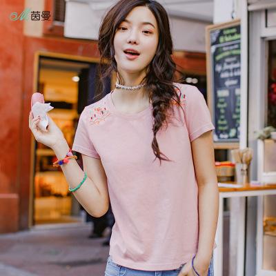 áo thun Áo thun cotton mới 2019 mùa hè mới tay ngắn thêu áo thun nữ 1882022146