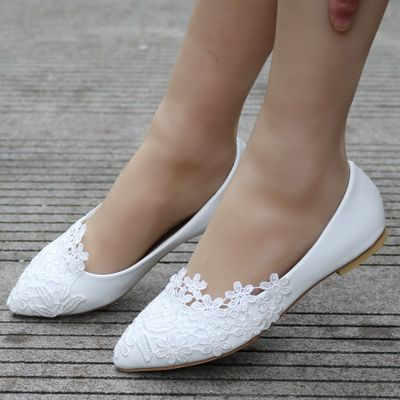 giày bệt nữ Ngoại thương cỡ lớn giày đế bằng ren trắng Giày trắng mũi nhọn Giày đế bằng màu trắng Gi