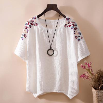 áo thun Áo sơ mi thêu tay ngắn Thời trang cotton và áo thun nữ rộng rãi Áo thun đáy mùa xuân mới áo