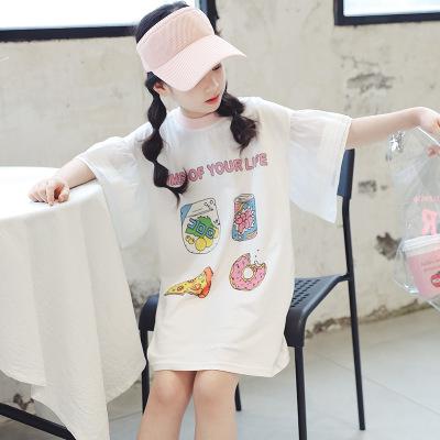 Thị trường trang phục trẻ em Quần áo bé gái 2019 hè mới Trẻ em thời trang lớn tay ngắn trẻ em cổ trò