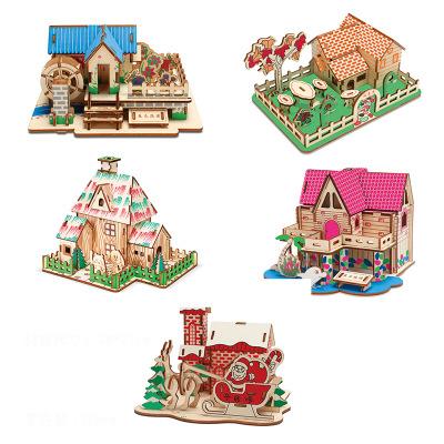 Tranh xếp hình 3D Mới 3D bằng gỗ cắt laser đồ chơi câu đố DIY trẻ em mùa xuân, mùa hè và mùa thu đồ