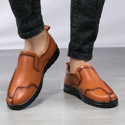 Giày mọi đế thấp Xu hướng giày da nam hoang dã mùa hè đặt chân thoáng khí một bước chân bằng hạt đậu