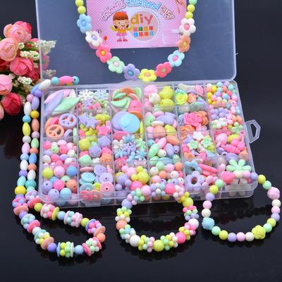 Hộp Đồ chơi sáng tạo hạt cườm bằng nhựa cho bé gái làm vòng , dây chuyền .