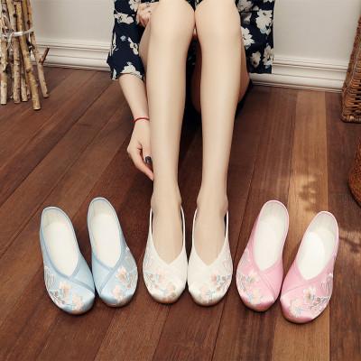 giày bệt nữ Giày vải Bắc Kinh cũ quốc gia giày thêu gió gân dân gian dưới nước giày thường vải satin