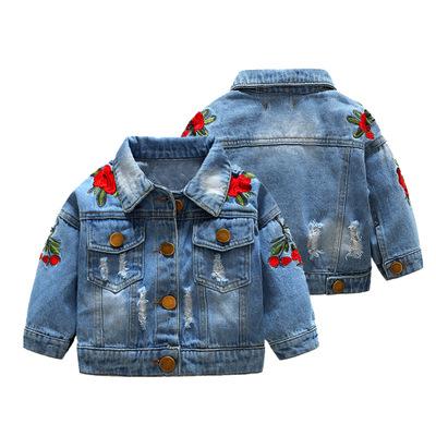 Trang phục Jean trẻ em Áo khoác nữ denim phiên bản hàn quốc 2018 xuân hè mới quần áo trẻ em hoa hồng