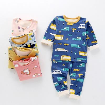 Thị trường trang phục trẻ em Quần bé trai cộng với nhung dày cho bé quần áo mùa thu quần dài hai bộ