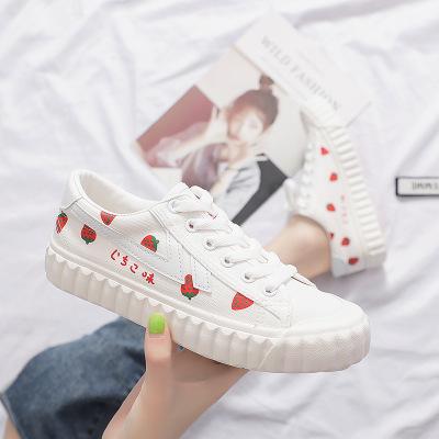 giày vải Giày vải nữ 2019 bơ dâu mới Giày Sen vẽ tay mùa thu sinh viên Hàn Quốc phiên bản giày ulzza