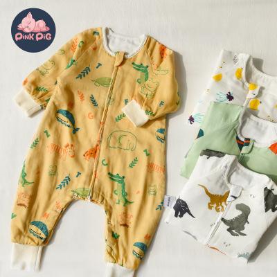 Túi ngủ trẻ em Túi ngủ cotton gạc sáu lớp cho bé Sản phẩm quần áo trẻ em một mảnh chống đá