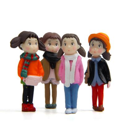 Búp bê vải Nhỏ tươi 4 quần áo mùa đông nhỏ Xiaomei Rêu vi trang trí cảnh dễ thương Búp bê hình người