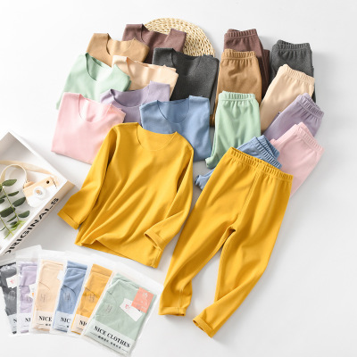 Đồ Suits trẻ em Mùa thu và mùa đông 19 bộ đồ lót nhiệt cho bé sốt nhung xà cạp ở trẻ lớn không có dấ