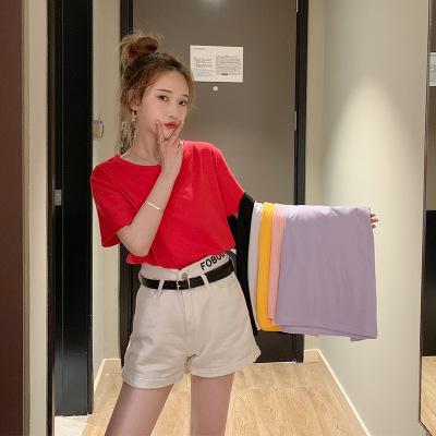 áo thun Áo thun cotton tay ngắn màu cotton 2019 hè Hàn Quốc phiên bản mới của quần yếm màu rộng mới