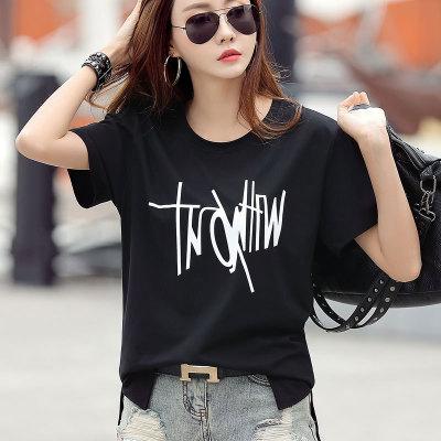áo thun 19 mùa hè mới phiên bản Hàn Quốc của áo thun ngắn tay in mỏng mỏng in hoa nữ chất lượng cao
