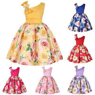 Thị trường trang phục trẻ em Váy xéo vai cô gái mới in hoa hồng váy váy cô gái Giáng sinh trang phục