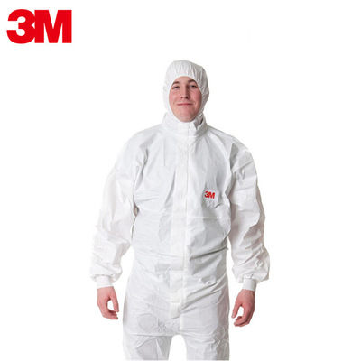 Trang phục bảo hộ  Bộ đồ liền thân chống nước có mũ trùm đầu màu trắng 3M 4545 (5 trước đây là nâng