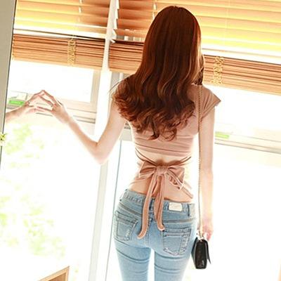 áo thun Áo thun nữ 2019 hè Hàn Quốc phiên bản mới màu rắn Slim áo quây gợi cảm áo sơ mi nữ ngắn tay