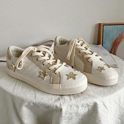 giày bệt nữ Mùa thu mới phiên bản Hàn Quốc của đôi giày nhỏ màu trắng nữ Giày sao đế bệt đế bằng hoa