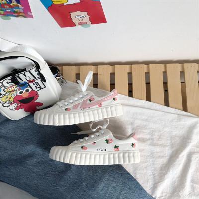 Giày trắng nữ Giày vải mới 2019 Nhật Bản màu hồng nhỏ dâu tây nữ sinh viên giày vẽ tay Phiên bản Hàn