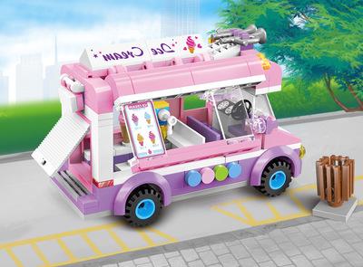 Bộ đồ chơi rút gỗ Gửi người tháo gỡ để chèn sự khai sáng lắp ráp khối xây dựng thành phố xe tải kem