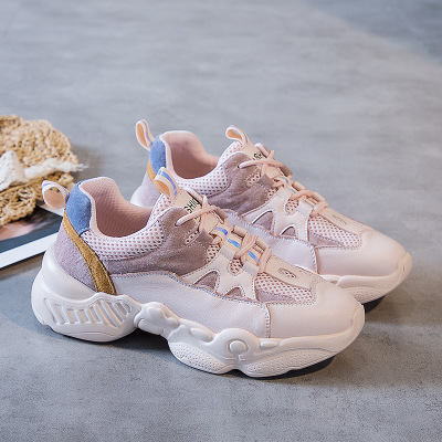 Giày lưới Giày nữ nữ mùa thu 2019 mới giản dị Giày nữ màu trắng lưới da Phiên bản Hàn Quốc của giày