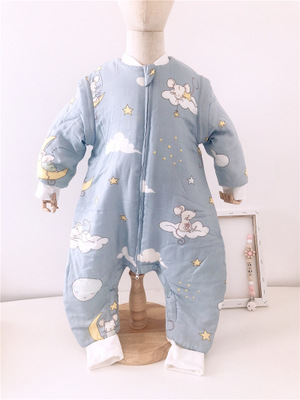 Túi ngủ trẻ em Mùa thu và mùa đông em bé túi ngủ tre chân bông ngủ túi bông gạc chống đá chân túi ng