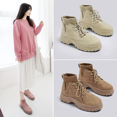 giày bánh mì / giày Platform Giày mùa thu và mùa đông của phụ nữ cao để giúp Martin khởi động quần l