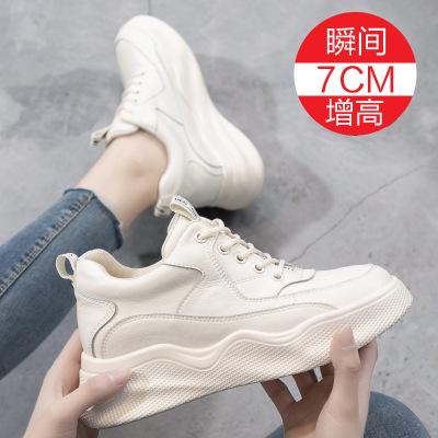 Giày trắng nữ Giày cao gót nhỏ màu trắng nữ xuân 2019 phiên bản mới của Hàn Quốc bằng da giản dị hoa