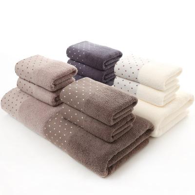YIHAN Khăn tắm Khăn bông chấm ba mảnh bộ quà tặng khăn tùy chỉnh logo thương mại nước ngoài khăn mềm