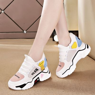 Giày lưới Giày mùa thu mới 2019 Giày thông thường của Hàn Quốc Giày nữ cỡ nhỏ tăng giày nữ Giày lưới