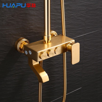HUAPU vòi hoa sen Nhà sản xuất không gian nhôm cổ vàng tắm đặt Toàn bộ mưa nhiệt đới mưa địa phương