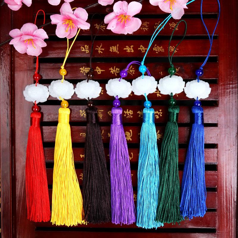 ZHENYUAN sợi tua Ngọc bích trắng tua rua Yang Mi trắng sáng mới treo tai Sansheng III Shili Peach Bl